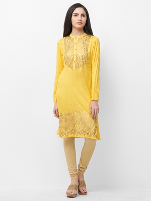 Yellow printed viscose kurtas-and-kurtis