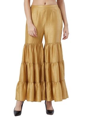 Gold Sharara Pants With Drawstring Closure