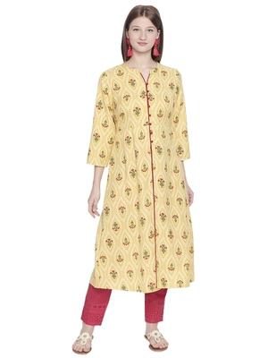Yellow printed polyester kurtas-and-kurtis