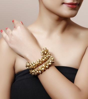 Gold Ghungroo Bracelet - Pair