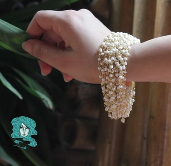 White beaded Multistrand Bracelet