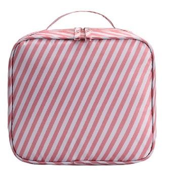 Shree Shyam Product Red Travel Makeup Bags Cosmetic Case Organizer Portable Storage Bag 1 Pcs Set