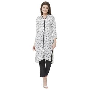 Off white printed cotton kurtas-and-kurtis