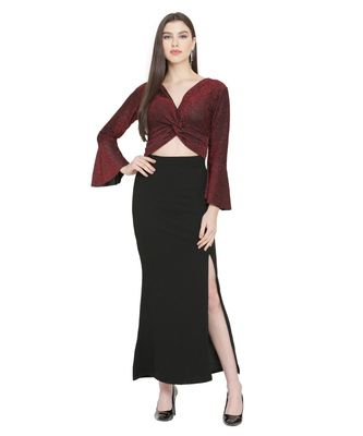 Maroon Color Lycra Fabric Gown