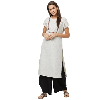 Grey printed cotton kurtas-and-kurtis