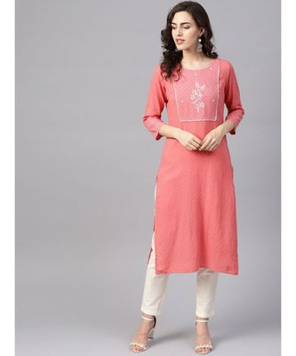 Women Pink & Off White Embroidered Straight Cotton Dobby Kurta With Pant