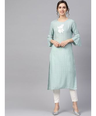 Women Sea Green & Off White Embroidered Straight Rayon Dobby Kurta With Pant