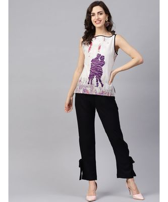 Women Black Ethnic Motifs Straight Cotton & Rayon Top With Pant