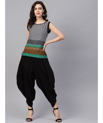 Women Black Ethnic Motifs Straight Cotton Top With Pant