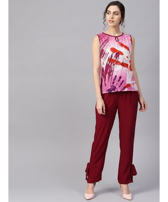Women Maroon Ethnic Motifs Straight Cotton & Rayon Top With Pant