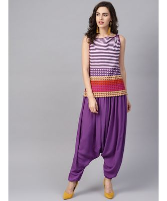 Women Purple Ethnic Motifs Straight Cotton & Rayon Top With Pant