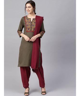Women Olive & Maroon Ethnic Motifs Straight Cotton Kurta With Patiala Dupatta