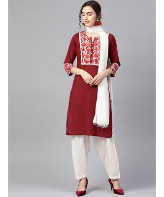 Women Maroon & Off White Ethnic Motifs Straight Cotton Kurta With Patiala Dupatta