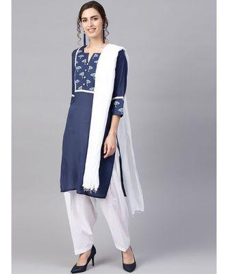 Women Navy Blue & White Ethnic Motifs Straight Cotton Kurta With Patiala Dupatta