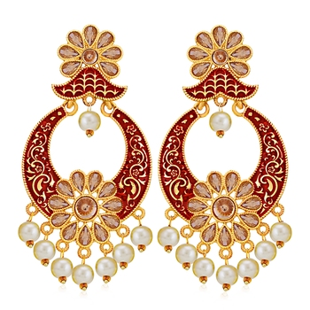 Red pearl earrings