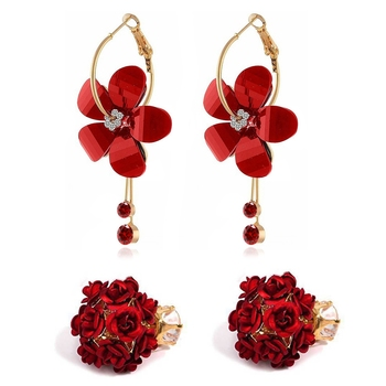 Red diamond combo-earrings