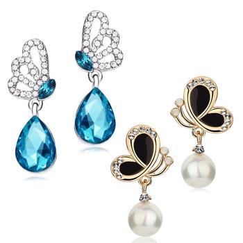 Blue pearl combo-earrings