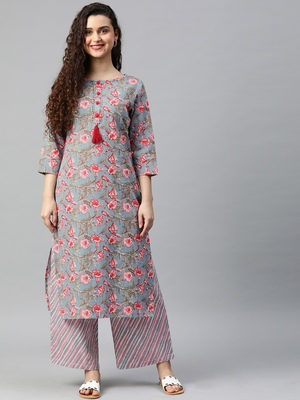 Light-blue floral print cotton kurta with palazzo