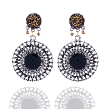 Black Stone Studded Silver Earring Drop For Women
