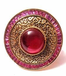 Devanjali Red Brass Big Kundan Polki Traditional Cocktail Ring For Women And Girls