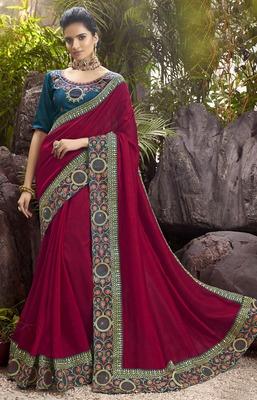 Magenta plain chanderi silk saree with blouse
