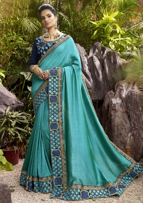 Cyan plain chanderi silk saree with blouse