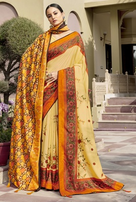 Yellow printed chanderi silk saree with blouse