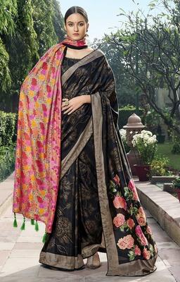 Black printed chanderi silk saree with blouse