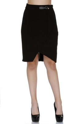 Black Solid Knee Length Skirt