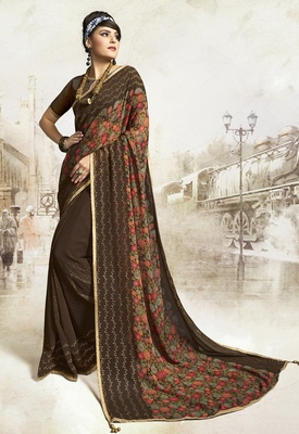 Brown printed georgette saree with blouse
