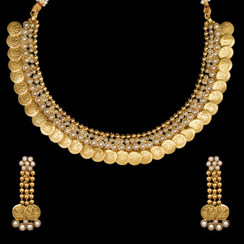 Ethnic Indian Bollywood Jewelry Set Golden Coin Pearl Necklace Set