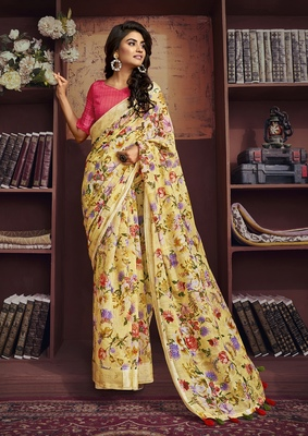 Yellow printed cotton saree with blouse