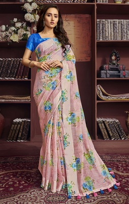 Pink printed cotton saree with blouse