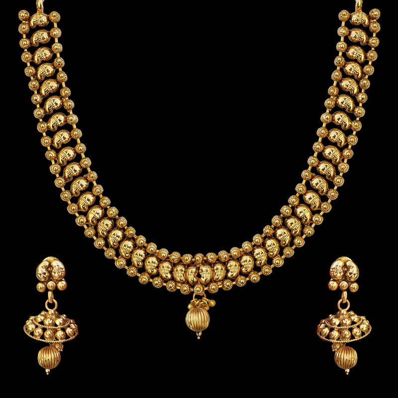 Ethnic Indian Jewelry Gold Necklace Set: Ethnic South Indian Bollywood Jewelry Set Gold Finish