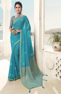 Sky blue plain chiffon saree with blouse