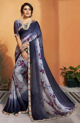 Blue printed chiffon saree with blouse