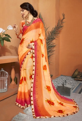 Light yellow printed chiffon saree with blouse