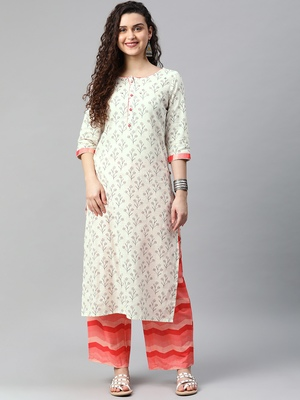 Off-white floral print cotton kurta with palazzo