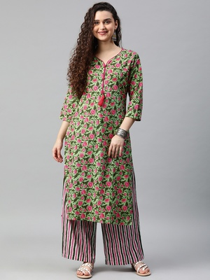 Green floral print cotton kurta with palazzo