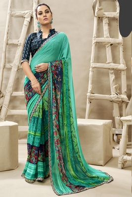 Sea green printed georgette saree with blouse