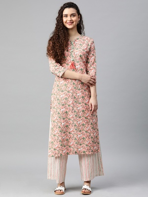 Peach floral print cotton kurta with palazzo
