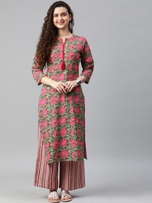 Emerald floral print cotton kurta with palazzo