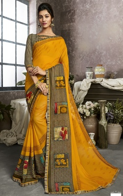 Mustard printed georgette saree with blouse