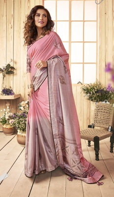 Pink printed chanderi silk saree with blouse