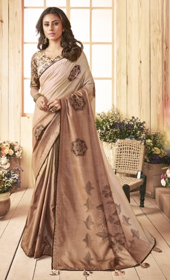 Beige printed chanderi silk saree with blouse