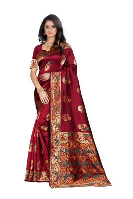 Maroon woven banarasi cotton saree with blouse