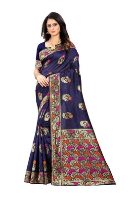 Navy blue woven banarasi cotton saree with blouse