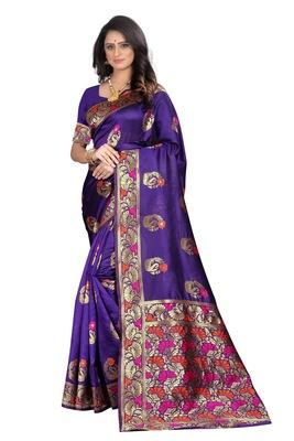 Purple woven banarasi cotton saree with blouse