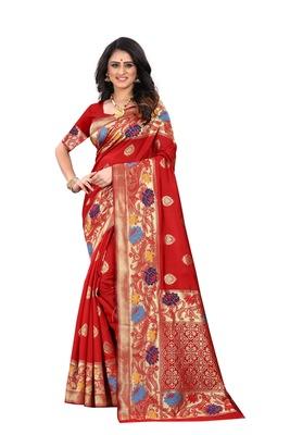 Red woven banarasi cotton saree with blouse