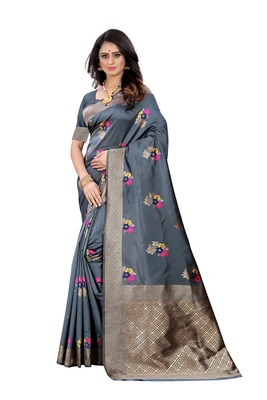 Grey woven banarasi cotton saree with blouse